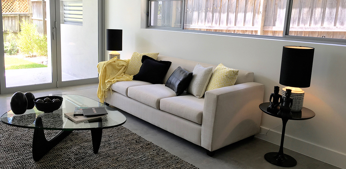 living room sydney property styling