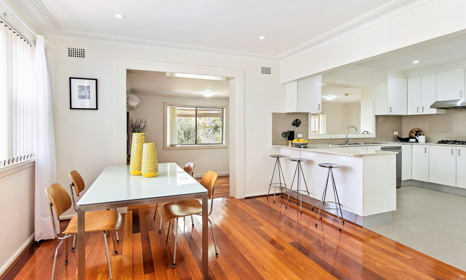 styling a house for sale Sydney Putney Living room kitchen